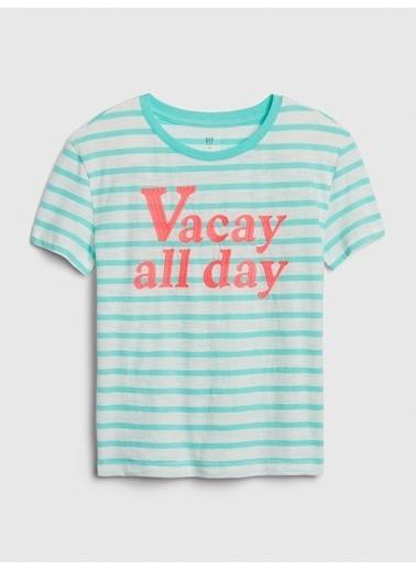 Gap Kısa Kollu Çizgili T-Shirt Mavi